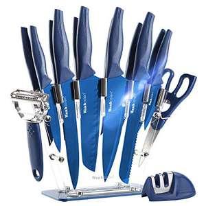 Juego de cuchillos de cocina con soporte, pelador, afilador, tijeras... de todo