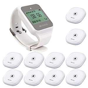 Retekess TD108-TD017 Buscapersonas Inalámbrico (1 Receptor de Reloj y 10 Botones de Llamada)