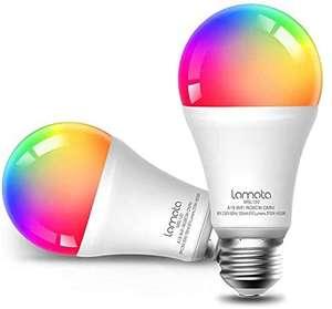 Bombilla LED WiFi, Multicolor 9W E27 Lámpara, 2700-6500 K, Alexa (Echo, Echo Dot), Google Home PACK DE 2