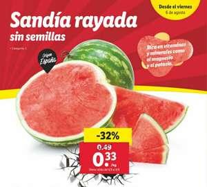 Sandía rayada sin semillas a 0,33€/Kg en tiendas Lidl a partir del 6 de agosto
