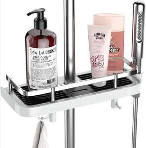 (Pack de 2) Estantes de ducha con dos ganchos + gancho para cabezal de ducha.