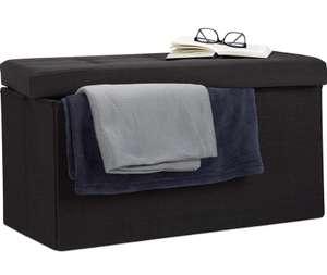 Relaxdays Baúl Almacenamiento Plegable, Lino, Negro, 38 x 76 x 38 cm