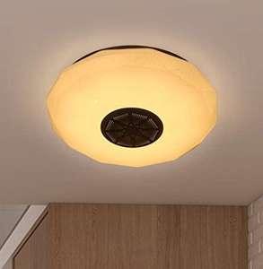 Luz de techo LED con altavoz Bluetooth y control remoto con cambio de color RGB
