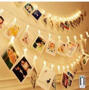 5m/16.4ft 50 LED Photo Clips Luces Cadena con Control Remoto Batería Cargada 8 Modos Iluminación