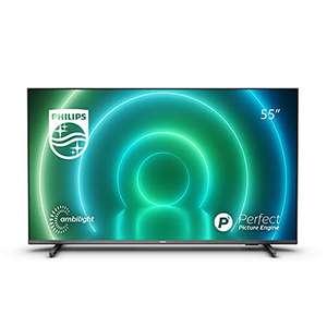 TV LED Philips 55PUS7906 55 Pulgadas, Smart TV 4K con Ambilight, HDR Vibrante, Visión Dolby cinematográfica y Sonido Atmos, Compatible Alexa
