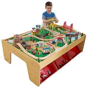 Juego clásico de actividades ferroviarias de madera