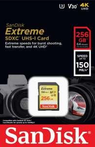 SanDisk Extreme - Tarjeta de Memoria SD UHS-I, 256 GB, hasta 150MB/s (Envío incluido)