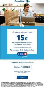 15 € de descuento en Carrefour Supermercado por compra de 120€