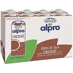 Alpro Central Lechera Asturiana - Bebida De Soja Con Chocolate, 100% Vegetal, Pack 8 Briks de 1 Litro = 8L (PUEDE QUEDAR EN 6,74€)