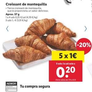 Croissant Mantequilla Lidl 0.20€ (5 Uds por 1€)