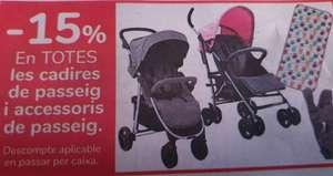 15% al pasar por caja en tienda, en todas las sillas y accesorios de paseo de bebés y niños pequeños.