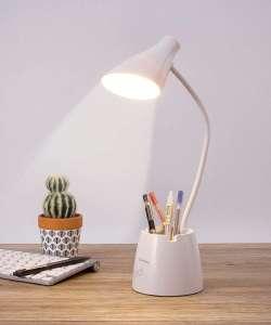 Flexo LED Escritorio con Portalápices y Soporte Móvil