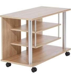 Mueble con ruedas para el televisor, imitación roble, 80 x 54,5 x 40 cm