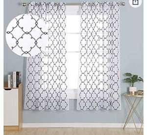2 cortinas Transparente con Ojales para Dormitorio y Salón 2 140 x 138 cm Azul Marino