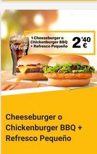 1 chickenburger o 1 cheeseburguer BBQ + refresco