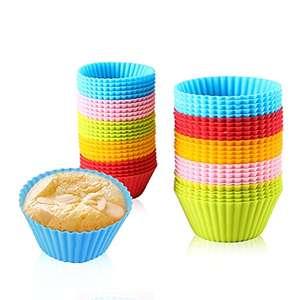 , 25 moldes de silicona reutilizables para hornear, moldes para tartas y magdalenas, 5 colores