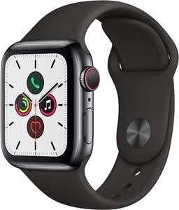 Apple Watch Series 5, Chip W3, 40 mm, GPS + Cellular, Caja aluminio gris espacial, Correa deportiva negra