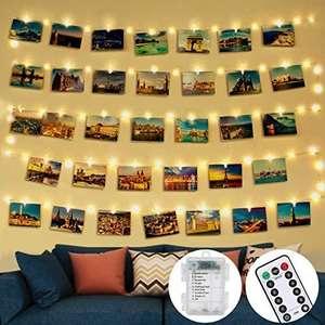 5m 50 Led Clip Cadena de Luces LED 30 Pinzas Para Fotos