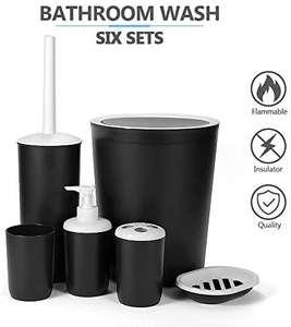 Precio socios prime:Juego de Accesorios para Baño Set de Baño 6 Piezas Plástico PP no Tóxico Negro