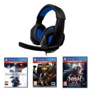 Pack 3 juegos PS4 y auriculares con micrófono desde España