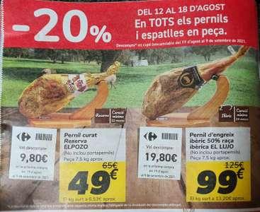 20% Jamones y paletas Carrefour en cupón descuento