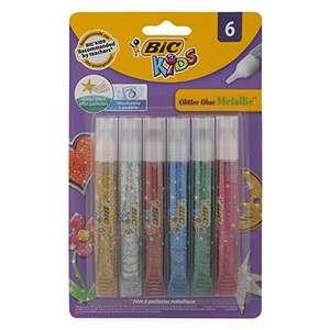 Bic Kids Glitter Pegamento con Purpurina Colores Metálicos – Colores Surtidos, Blíster de 6 Unidades