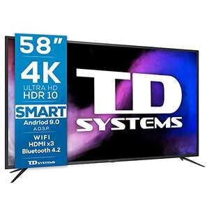 "TV LED 58"" TD Systems K58DLJ12US Smart TV 4k UHD Android 9.0 y HBBTV, 1500 PCI Hz, 3X HDMI, 2X USB. DVB-T2/C/S2"