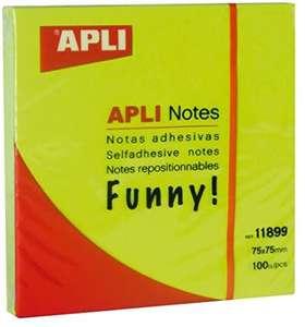 Notas adhesivas FUNNY 75 x 75 mm bloc de 100 hojas color verde fluorescente