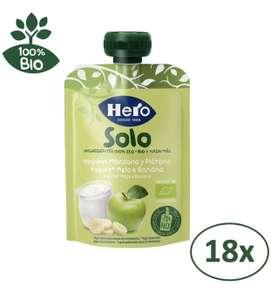 Hero Solo Bolsitas Ecológicas de Yogur, Manzana y Plátano - Para Bebés a Partir de los 12 Meses - Pack de 18 x 100 g