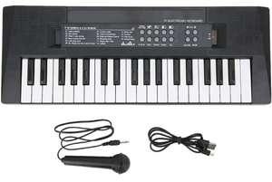 Teclado piano musical multifunción 37 teclas con micrófono, juguete para enseñar música a niños