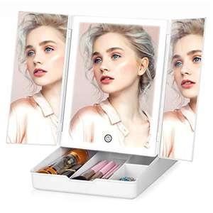 Espejo de maquillaje plegable con iluminación