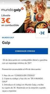 3 € descuento Galp (mínimo 35 €) - App LIDL PLUS