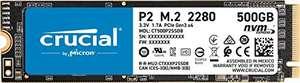 Crucial P2 CT500P2SSD8 Disco Duro sólido Interno SSD de 500GB, de hasta 2400 MB/s (3D NAND, NVMe, PCIe, M.2)