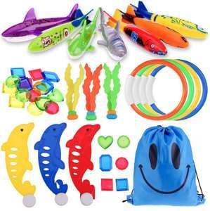 34 juguetes de buceo para niñoscon mochila bolsa con cordones