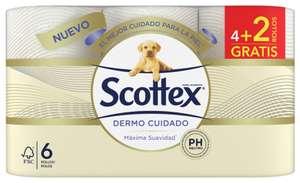 Scottex Dermo Cuidado Papel Higiénico 6 rollos (4 + 2 rollos gratis)