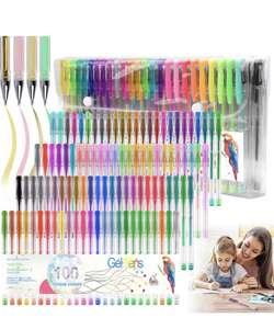 Juego de 100 bolígrafos de gel con purpurina de neón
