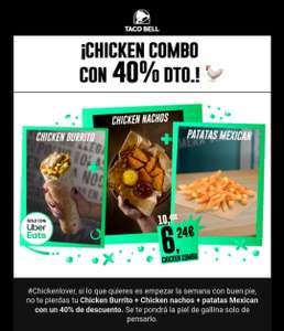 Chicken Burrito + Chicken nachos y Patatas Mexican a 6.25 pidiendo con Uber Eats