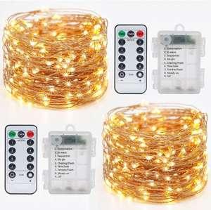 2 Pack Guirnalda Luces, Litogo Luces LED Decoracion 12M 120 LED Guirnalda Luces Pilas 8 Modos