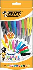 BIC Cristal Multicolour Bolígrafos Punta Ancha (1,6 mm) – Colores Surtidos, Bolsa de 20 Unidades