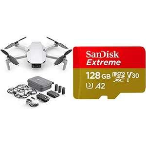 DJI Mavic Mini Combo - Dron Ultraligero y Portátil + SanDisk Extreme - Tarjeta de Memoria MicroSDXC de 128 GB con Adaptador SD