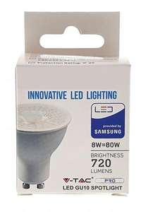 Bombilla LED Dicróica 8W GU10 VTAC Samsung