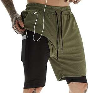Talla M Pantalones Cortos de Gimnasio con Forro de Bolsillo Incorporado
