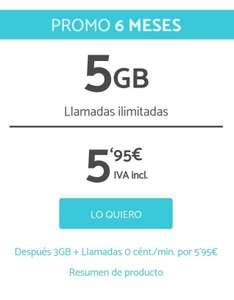 Promo 6 meses de llamadas ilimitadas y 5 GB a 5,95€