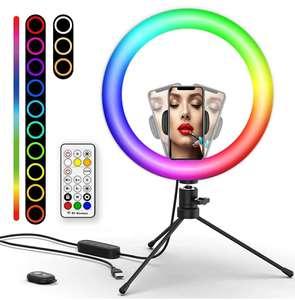 """Luz de Anillo LED RGB 10.2"""" con Trípode"""