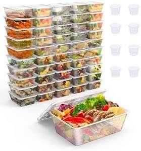 Paquete de 50 contenedores de alimentos reutilizables para comidas, para microondas, congelador y lavavajillas