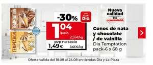 Conos de nata y chocolate/ vainilla DIA pack-6x68 g