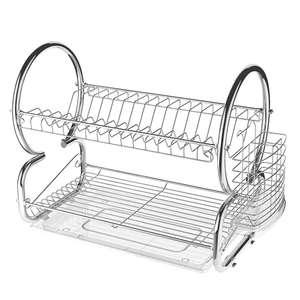 Escurreplatos de acero inoxidable de 2 niveles, con soporte para utensilios y escurridor de platos