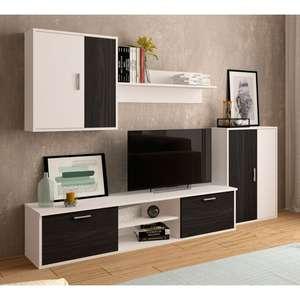 Mueble de salón Zeta blanco-gris bocamina 220 cm.