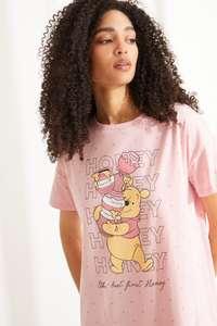 TALLAS S a L - Camisón midi manga corta Winnie de Pooh algodón rosa