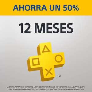 PlayStation Plus: suscripción de 12 meses año con un 50% de descuento (nuevos usuarios, Con PSN Card te ahorras 4-5€)